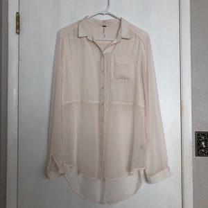 Free People Sheer Button-Down Blouse